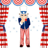 4th Of July Uncle Sam. Wants you concept pose pointing at you standing under flag decoration Stock Photography