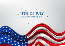 4th of July, United Stated independence day, American national day on USA flag, vector illustration Stock Images