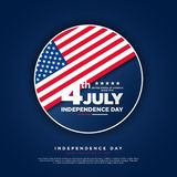 4th of July, United Stated independence day greeting. Fourth of July on blue background design. Usable as greeting card, banner, f. Lyer royalty free illustration