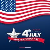 4th of July, United Stated independence day greeting. Fourth of July on blue background design. Usable as greeting card, banner, f. Lyer Stock Images