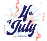 4th of July, United Stated independence day greeting. Fourth of July typographic design. 4th of July, United Stated independence day greeting. Fourth of July royalty free illustration