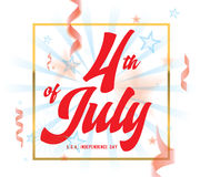 4th of July, United Stated independence day greeting. Fourth of July typographic design. 4th of July, United Stated independence day greeting. Fourth of July Stock Photography