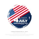 4th of July, United Stated independence day greeting. Fourth of July on white background design. Usable as greeting card, banner,. Flyer stock illustration