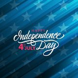 4th of July United States Independence Day celebrate card with handwritten holiday greetings. Vector illustration Stock Photography