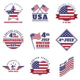 4th July United States Independence Day Emblem, Logo Set. 4th July United States Independence Day Emblem, Insignia, Logo Set stock illustration