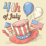 4th of July United States Independence Day Hand Drawn Design. National American Holiday. Vector illustration royalty free illustration