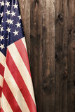 4th of July, the US Independence Day, place to advertise, wood background, American flag stock photo