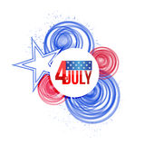 4th of july. usa circles paint flag illustration. Design over white Stock Photography