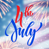 4th July USA fireworks greeting card Royalty Free Stock Image