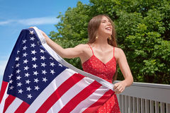 4th of July. Woman American Flag - 4th of July Stock Photo