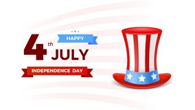 4th of July with USA flag, Independence Day Banner. Fourth of July felicitation classic postcard. USA Happy Independence. Day greeting card. Vector illustration royalty free illustration
