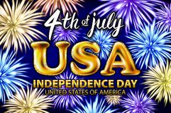 4 th of july USA gold balloons happy Independence Day poster design, banner with fireworks and confetti vector. Art Royalty Free Stock Photo