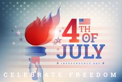 4th of July USA Independence Day background with the flame of li. Berty, USA flag, Fourth of July typography - United States patriotic vector background royalty free illustration