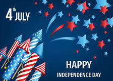 4th of July, USA Independence Day background. Happy Independence Day of the USA. 4th of July poster with pyrotechnic firework rockets in American national flag royalty free illustration