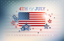 4th of July USA Independence Day background with USA flag, Celeb. Rate Freedom text, stars on shiny abstract background inspired by the United States flag stock illustration