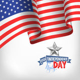 4th july USA independence day banner with american flag. And hand lettering, greeting card design, vector illustration Royalty Free Stock Image
