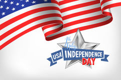 4th july USA independence day banner with american flag. And hand lettering, greeting card design, vector illustration Royalty Free Stock Photos