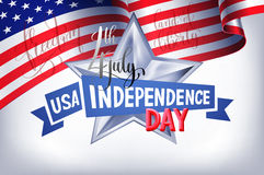 4th july USA independence day banner with american flag. And hand lettering, greeting card design, vector illustration stock illustration