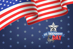 4th july USA independence day banner with american flag. And hand lettering, greeting card design, vector illustration royalty free illustration