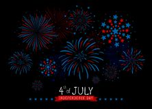 4th of july USA Independence day design of fireworks on black background vector illustration. For design work vector illustration