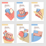 4th of July USA Independence Day Hand Drawn Design. National American Holiday Cards, Brochure. Vector illustration Stock Image