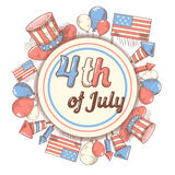 4th of July USA Independence Day Hand Drawn Design. National American Holiday Stock Photo