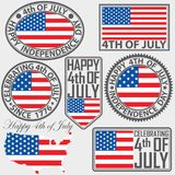 4th of July, USA independence day label set, vector illustration. 4th of July, USA independence day label set, vector Royalty Free Stock Images