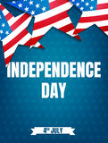 4th of July. USA Independence Day party poster. Fourth of July holiday event banner.  Royalty Free Stock Photos