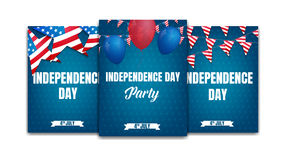 4th of July. USA Independence Day party posters. Fourth of July holiday event banners.  Stock Photos