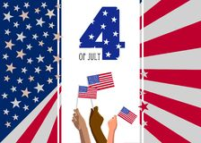 4th of July USA Independence Day placard, poster or greeting card. Text and hands with american flags on white vertical banner. Abstract United States of Stock Photo