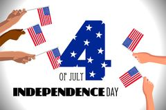 4th of July USA Independence Day placard, poster or greeting card. Number 4 text and hands with american flags on white horizontal banner. Vector illustration Royalty Free Stock Images