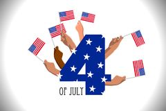 4th of July USA Independence Day placard, poster or greeting card. Number 4 text and hands with american flags on white horizontal banner. Vector illustration Stock Photo