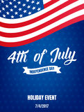 4th of July. USA Independence Day poster. Fourth of July holiday event banner.  stock illustration