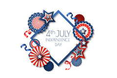 4th of July, USA Independence Day. Vector holiday frame isolated on white background. Paper stars in USA flag colors. Material design for greeting card, flyer Royalty Free Stock Image