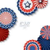 4th of July, USA Independence Day. Vector paper stars in USA flag colors. Abstract white background. 4th of July, USA Independence Day. Vector paper stars in Stock Photos