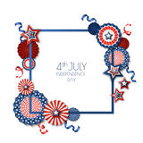 4th of July, USA Independence Day. Vector square frame isolated on white background. Paper stars in USA flag colors. Material design for greeting card, flyer Royalty Free Stock Photo