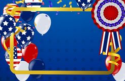 4th of july usa independence day, vector template with american flag and colored balloons on blue shining starry background. Fourth of july, USA national royalty free illustration