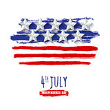 4th of July, USA Independence Day. Vector watercolor background with 3d paper stars. Watercolor USA flag,  on white background. Design for greeting card Royalty Free Stock Photos
