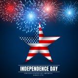 4 th july usa star, independence day. Fireworks. Festival colorful firework. Vector llustration on blue background.  royalty free illustration