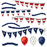 4th of July  vector elements set. 4th of July decorations vector elements. Independence Day pennant banner, balloons and ribbons set Stock Photos