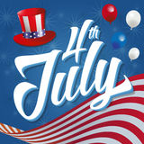 4th of July. Vector illustration with american flag, american-themed hat and balloons in a blue background full of stars Royalty Free Stock Photography