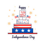 4th of July. Vector illustration of Independence Day. Card with cake. 4th of July. Greeting card for 4th of July Independence day with cake Stock Image
