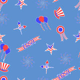 4th of July vector seamless pattern background. USA independence day vector seamless pattern. Festive background for the US national holiday stock illustration
