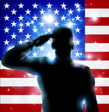 4th July or Veterans Day Illustration. Patriotic soldier or veteran saluting in front of an American flag Fourth July, Verterans Day or Independence Day stock illustration