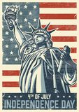 4th of july vintage poster. With statue of liberty. Vector illustration Royalty Free Stock Photos