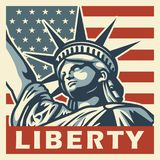 4th of july vintage poster. With statue of liberty. Vector illustration Royalty Free Stock Photo