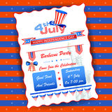 4th of July wallpaper background. Vector illustration of background for Fourth of July American Independence Day Barbecue party Stock Images