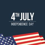 4th of July waving USA flag background. Vector illustration, banner or placard royalty free illustration