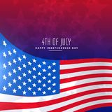 4th of july wavy flag background Stock Image