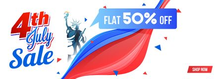 4th of July, web sale banner design with 50% off offer. Statue of Liberty, and colorful waves Stock Photography